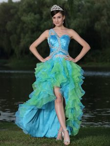 Multi-tiered High-low Multi-color One Shoulder Beaded Prom Cocktail Dress