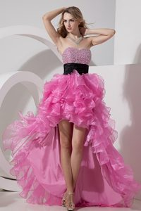 Poised A-line Sweetheart High-low Prom Formal Dress in Rose Pink