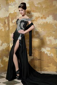 Popular Black High Slit Chiffon Prom Cocktail Dress with Chapel Train