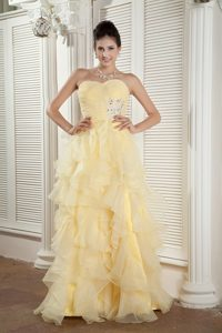 New Ruffled and Beaded Prom Homecoming Dress in Light Yellow