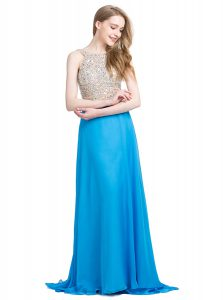Scoop Sleeveless Prom Dress With Brush Train Beading Blue Chiffon