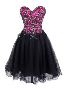 Extravagant Pink And Black Cocktail Dress Prom and Party with Beading and Lace Sweetheart Sleeveless Zipper