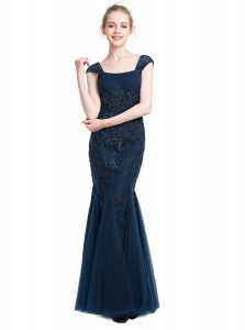 Exquisite Mermaid Floor Length Zipper Homecoming Dress Navy Blue for Prom and Party with Beading