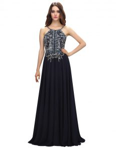 Modest Chiffon Sleeveless With Train Prom Dress Brush Train and Beading