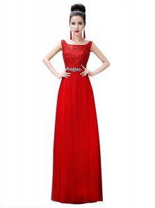 Fitting Floor Length Zipper Prom Evening Gown Red for Prom and Party with Beading and Lace