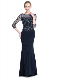 Chic 3 4 Length Sleeve Chiffon Floor Length Zipper Prom Dress in Navy Blue with Beading and Appliques