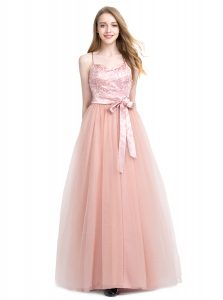 Colorful Pink Spaghetti Straps Zipper Beading Prom Dresses Sleeveless