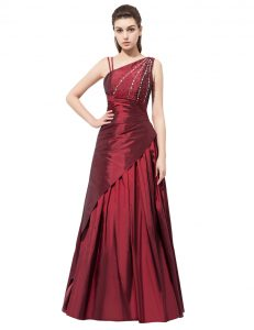 Burgundy Elastic Woven Satin Side Zipper Prom Party Dress Sleeveless Floor Length Beading and Bowknot