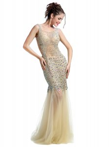 Custom Design Mermaid Champagne Sleeveless Floor Length Beading Backless Prom Evening Gown