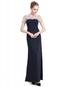 Top Selling Black Short Sleeves Chiffon Zipper Prom Dress for Prom and Party