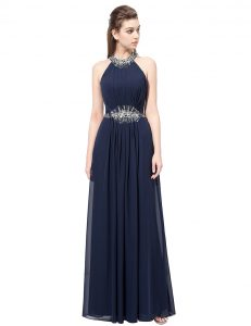 Lovely Scoop Navy Blue Column/Sheath Beading Prom Dresses Side Zipper Chiffon Sleeveless Floor Length