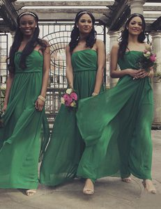 Green Empire Chiffon Strapless Sleeveless Ruching Floor Length Zipper Evening Dress