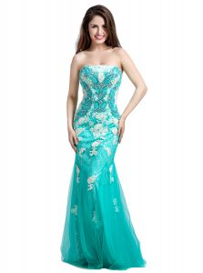 Inexpensive Mermaid Sleeveless Tulle Floor Length Zipper Prom Dresses in Turquoise with Beading and Appliques