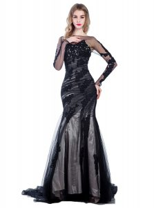Court Train Mermaid Juniors Evening Dress Black Bateau Tulle Long Sleeves With Train Zipper