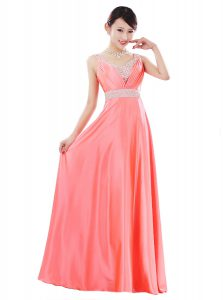 Sweet Watermelon Red Elastic Woven Satin Zipper V-neck Sleeveless Floor Length Homecoming Dress Beading