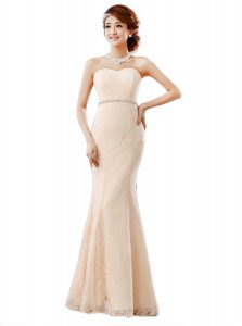 Pretty Sleeveless Floor Length Beading and Lace Zipper Prom Dress with Peach