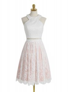 Latest Halter Top Pink And White Sleeveless Lace Zipper Cocktail Dress for Prom