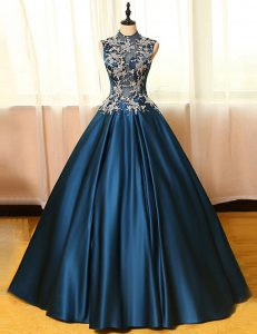On Sale Navy Blue Prom Dresses Prom and Party with Appliques High-neck Sleeveless Backless