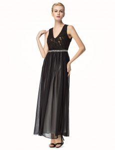 Cute Black Backless V-neck Beading and Pleated Evening Gowns Chiffon Sleeveless