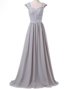 Sophisticated Grey Scoop Neckline Lace and Pleated Evening Dress Cap Sleeves Lace Up