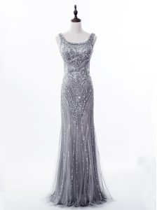 Mermaid Square Grey Satin and Tulle Zipper Sleeveless Brush Train Beading and Sequins