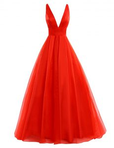 Sweet V-neck Sleeveless Cocktail Dresses Brush Train Pleated Coral Red Organza