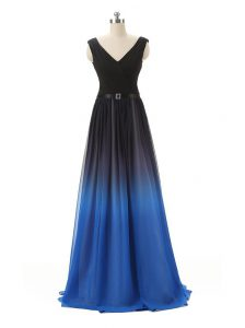 Floor Length Zipper Evening Dress Blue And Black for Prom and Party with Belt