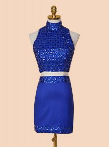 Ideal Royal Blue Satin Backless High-neck Sleeveless Mini Length Prom Party Dress Beading
