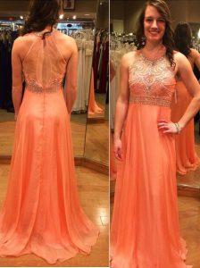 Romantic Scoop Backless Orange Sleeveless Brush Train Beading Dress for Prom
