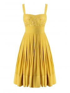 Exquisite Criss Cross Sweetheart Sleeveless Club Wear Knee Length Beading and Pleated Yellow Chiffon