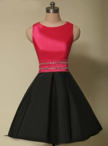 Fantastic Scoop Sleeveless Satin Mini Length Lace Up Cocktail Dress in Red And Black with Beading
