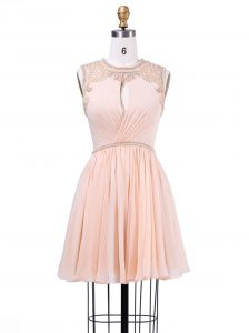 Peach Zipper Scoop Beading and Pleated Cocktail Dresses Chiffon Sleeveless