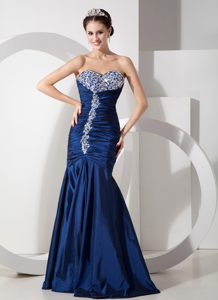Mermaid Sexy Prom Gown Dresses with Ruching and Beading in Navy Blue