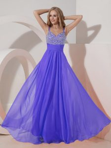 2015 Classic Purple Empire Straps Prom Formal Dress with Beads