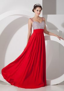 Trendy Red Empire Chiffon Beading Prom Dresses to Long with Straps