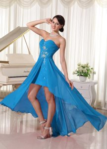 Popular High-low Beaded Sweetheart Chiffon Prom Cocktail Dresses in Blue