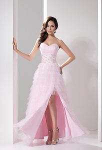 Modest Sweetheart Beading High Slit Ruffled Layers Prom Gowns with Bow