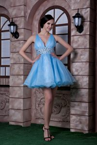 V-neck Mini-length Baby Blue Ruched Prom Dresses for Girls with Beading