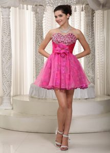 Popular Hot Pink A-line Mini-length Prom Dresses and Beaded
