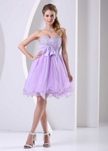 Cheap Lilac Sweetheart Beaded Chiffon Prom Gown Dress Knee-length Organza