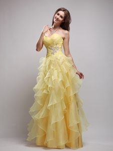 Yellow Empire Sweetheart Prom Gown Dress Ruffled and Appliques