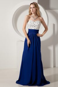 White and Royal Blue Prom Gown Dress Sweetheart Beaded with Brush Train