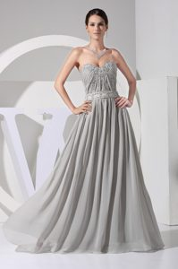 Grey Ruched Beading and Appliques Decorated Prom Dresses for Ladies with Sash