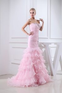 Baby Pink Brush Train Sweetheart Beaded Dresses for Prom Princess with Ruffle