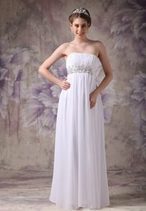 Empire Strapless Chiffon Appliqued Long Prom Dresses with Ruches