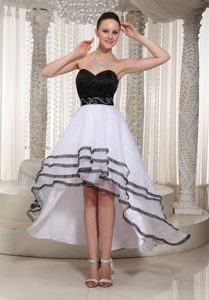 Black and White Prom Dresses High-low Sweetheart Beaded
