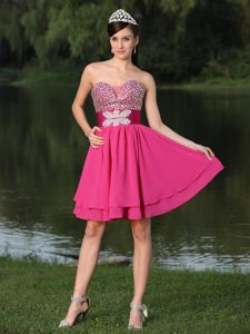 Custom Made Beaded Prom Dresses Hot Pink Knee-length in Low Price