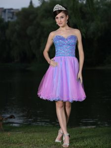 Sweetheart Beaded Prom Dresses Knee-length Blue and Pink in Color