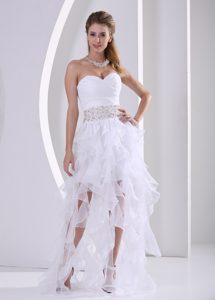 Stylish Ruffles Design Prom Gown Dresses with Beaded and Ruched