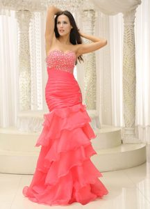 Mermaid Sweetheart Beaded Decorate Prom Gown Dresses Ruched